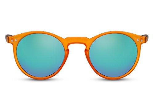 Cheapass Sonnenbrille Schwarz Blau Rund Verspiegelt Retro Unisex