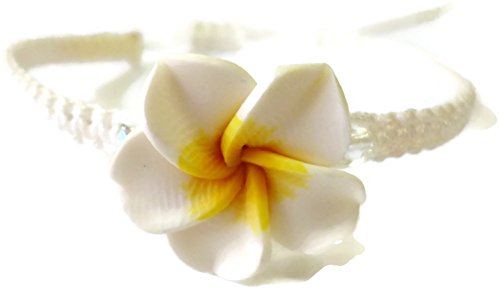 (Moose546 White Plumeria Braided Bracelets with a Sliding Knot Adjustable Cord Bracelets FC-044)