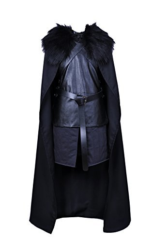 CosTop Game of Thrones Jon Snow Knights Watch Cosplay Costume for Man and Child,Black, Male -XL ()