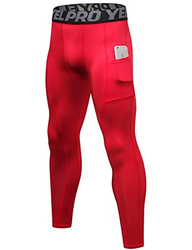 Lavento Men's Compression Pants Baselayer Cool Dry Pocket Running Ankle Leggings Active Tights (1 Pack-3911 Red,Medium) ()
