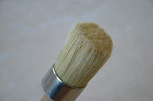 (Chalkology - Professional Wax Brush, Chalk Waxing, Pure Bristle, Varnished Wood Handle)