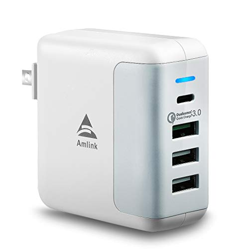 Amazon.com: AMLINK 40W Multiple USB Wall Charger 4 Port Portable Travel Adapter Charging Station PD+QC3.0 Output with Foldable Plug,Smart Identification ...