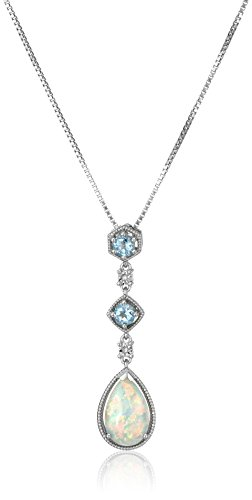 Sterling Silver, Created Opal, Created Blue Topaz, and Created Diamond Pendant Necklace, 18