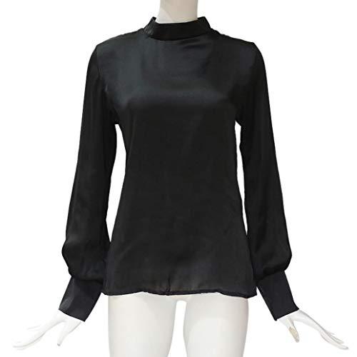 Noir Les pour Innerternet Femmes Manches Soie Mousseline Solide Blouse Longues Shirt de Lache en Chemisier T 0nq0zZ8
