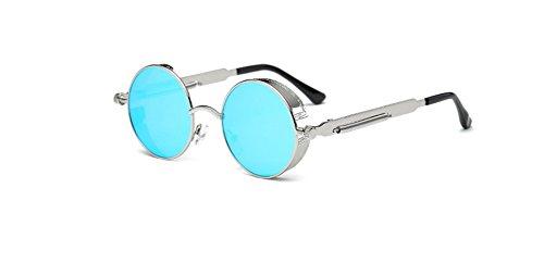 reflejada plata sol sol azul de Steampunk vendimia la gafas de del Hombre Hombres g¨®ticas capa de Hykis c¨ªrculo Mujeres punky del vapor UV400 Ronda retros retro lentes qwH4FI6