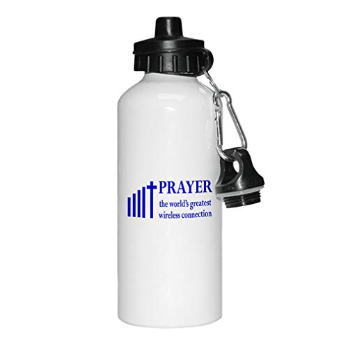 - Style In Print Royal Blue Prayer The World's Greatest Wireless Connection Aluminun White Water Bottle