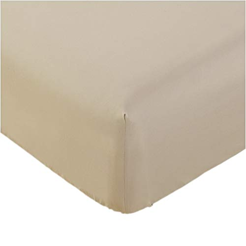Mellanni Fitted Sheet Full Beige Brushed Microfiber 1800 Bedding - Wrinkle, Fade, Stain Resistant - Hypoallergenic - (Full, Beige)