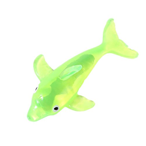 Gbell Stretchy Clear Dolphin for Kids Party Bag Fillers, Red,Green,Yellow,Gold,Blue Squeezable Dolphin Stretch Stress Relief Gifts for Boy Girls,13×7×2.5CM (Green)