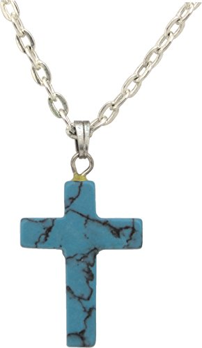 Unisex Pendant, Turquoise Howlite Gemstone Cross Shaped 1
