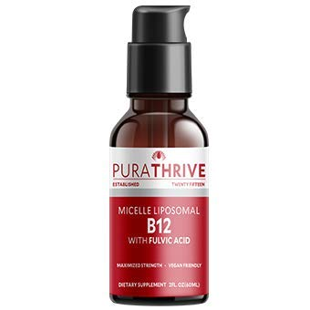 PuraTHRIVE Vitamin B12 Liquid Drops with Fulvic Acid. Liposomal B12 in Methycobalamin form for Maximum Absorption and Potency. Vegan Friendly, GMO free, Made in USA.