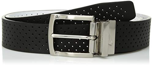 Nike Men's Perforated Reversible Leather Belt, black/white, 34