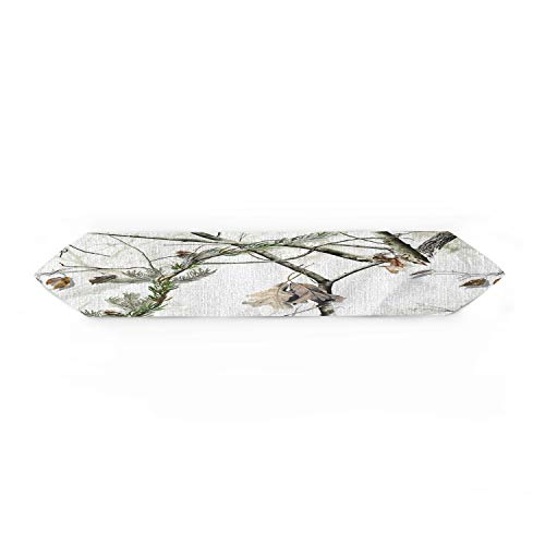 Cloud Dream Home White Realtree Camo Table Runner for Morden Greenery Garden Wedding Party Table Setting Decorations 13x90inch ()