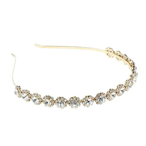 Bridal Bridesmaid Sparkle Jeweled Rhinestone Headband Wedding Prom Hairband (Color - Gold)