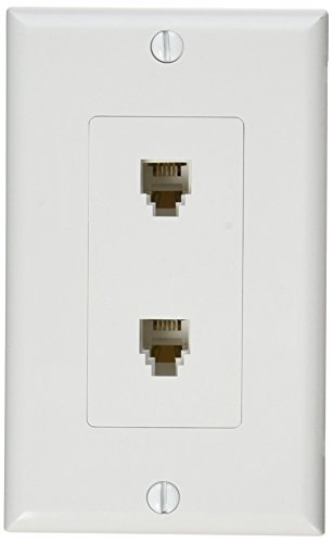 Morris 80171 Decorative Dual RJ11 4 Conductor Phone Jack Wall Plate, 2 Piece, White White Dual Telephone