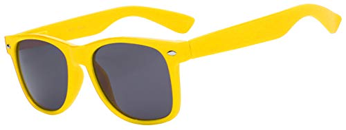 Retro Style Yellow Frame Vintage Smoke Lens Sunglasses