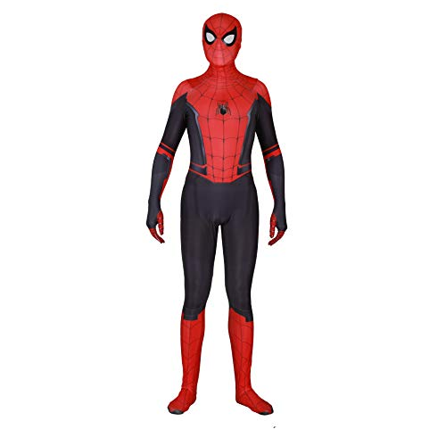 Silica Gel Spider Logo Unisex Lycra Spandex Zentai Halloween 2019 New far from Home New Spiderman Cosplay Costumes Adult/Kids (Kids-M, Detachable mask)