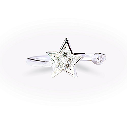 Tomas Jewelry Sterling Silver White Cubic Zirconia Star Toe Ring