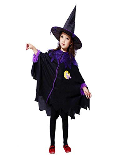 Toimoth Toddler Kids Baby Girls Halloween Clothes Costume Dress Party Dresses+Hat Outfit(Black,160)
