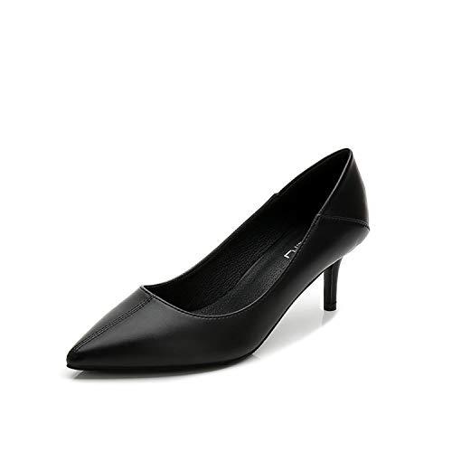 la Zapatos 39 Mujeres Superficie Puntiagudas Baja Primavera Tacón de Fino Zapatos de Cuero Nuevo Individuales Negro Trabajo Otoño Boca de ZHvwnH54q