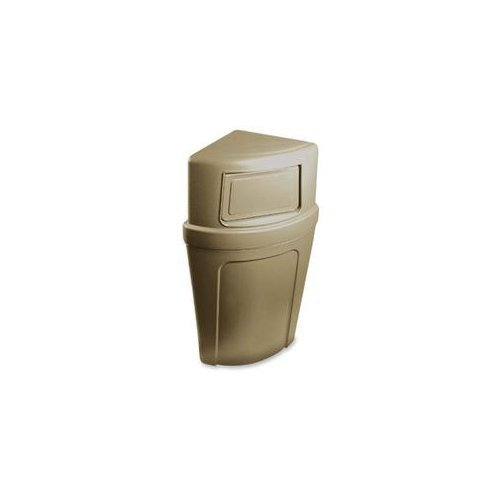Continental 8325BE, Corner Round Beige Plastic Dome Receptacle with Unique Bag Holder, 21 gallon Capacity (Case of 1) by Continental Commercial