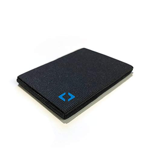 Anti-Wallet: Minimalist Front Pocket Everyday Carry for Credit Cards and Cash (Blue on Black)