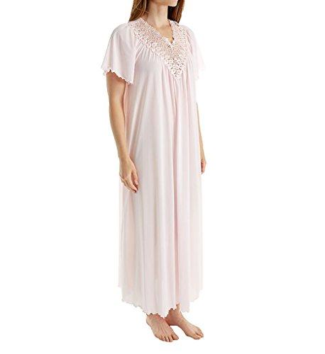 Pink Short Nightgown (Shadowline Women's Beloved 53 inch Flutter Sleeve Long Gown, Pink, Medium)