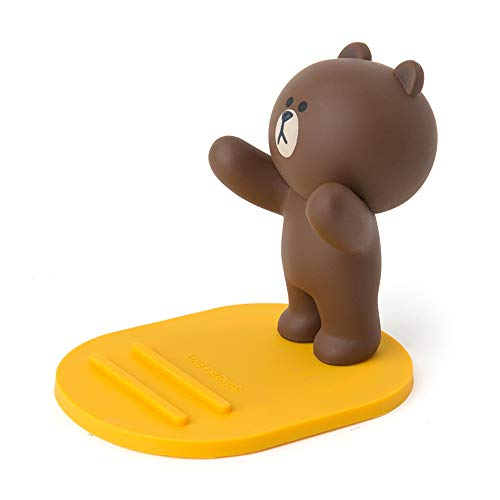 LINE FRIENDS Phone Dock - Brown Character Figure Cellphone Stand, Brown (Cute Best Friend Lines)