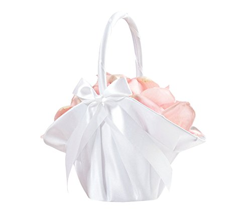 Lillian Rose Elegant Large Satin Flower Girl Basket White ()