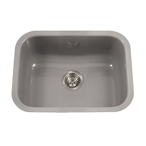 (Houzer PCS-2500 SL Porcela Series Porcelain Enamel Steel Undermount Single Bowl Kitchen Sink, Slate)