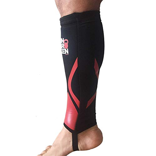 - Cross Fitness Shin Guard and Calf Compression 7mm RED SHELL Sleeve Protector for Rope Climb, Box Jumps, Deadlift, Dry Fast, Fits Women and Men,Thick Neoprene, Black, Single (S/M)