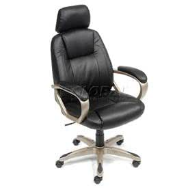 High-Back Leather Executive Chair with Adjustable Headrest