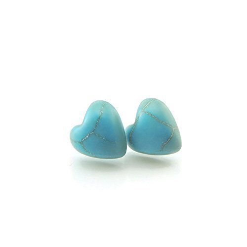 10mm Heart Shaped Simulated Turquoise Stone Earrings on Plastic Posts for Metal Sensitive Ears (Turquoise Earrings Stone)