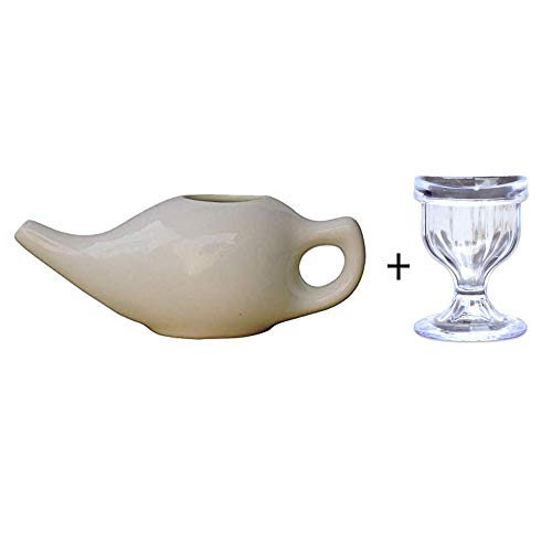 Porcelain Ceramic Neti Pot for Nasal Cleansing | Ceramic Neti Pot + Eye Wash Cup | Natural Treatment for Sinus Infection and Congestion | Ceramic Neti Pot + Instructions Leaflet ()