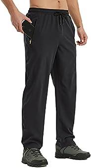 Men's Workout Athletic Pants Elastic Waist Waterproof Lightweight Jogger Running Pants for Men with Zipper