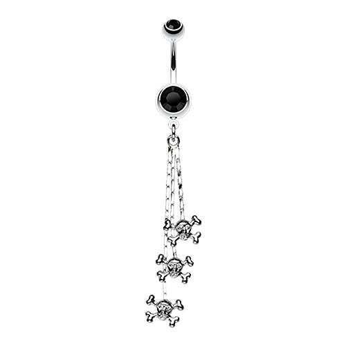 (Bazooky Skull & Crossbones Dangle Belly Button Ring (Many Colors))