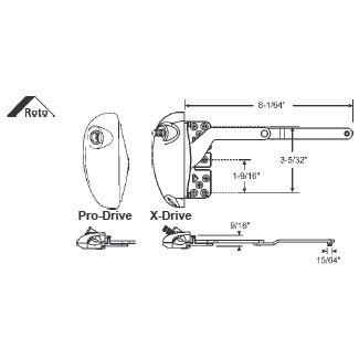 STB Split Arm Operator, Left Hand, Roto X-Drive, White