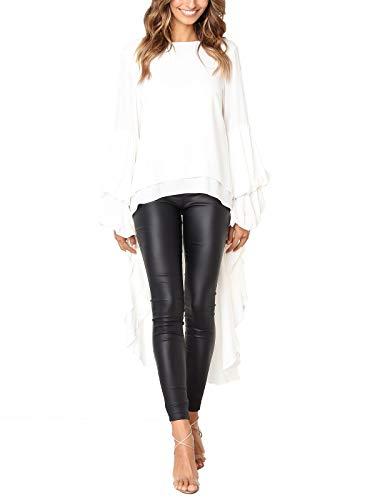 c1b4d485841 MISSLOOK Women s Lantern Long Sleeve Tops High-Low Hem Tunic Round Neck  Asymmetrical Irregular Hem