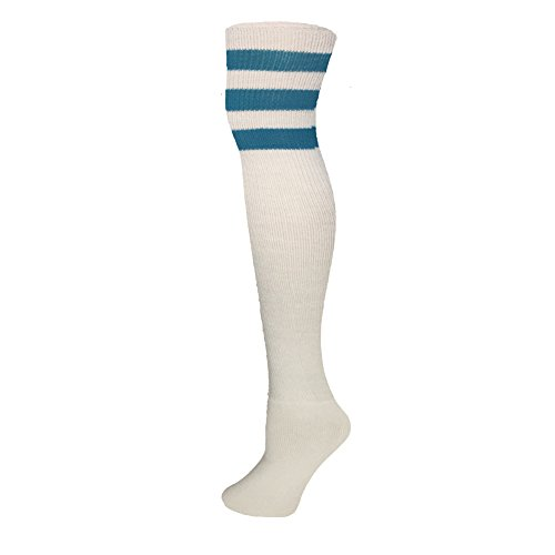 (AJs Classic Triple Stripes Retro Thigh High Tube Socks - White, Turquoise, Sock size 11-13, Shoe Size 5 and up)