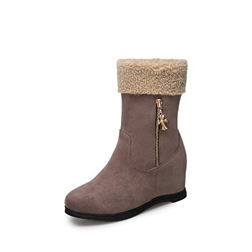 HRCxue Pumps Bequeme runde Kopf warme Baumwolle Baumwolle Baumwolle Schuhe Metall Reißverschluss Schneestiefel Matte Frauen Kurze Stiefel, grau, 34 b417c8