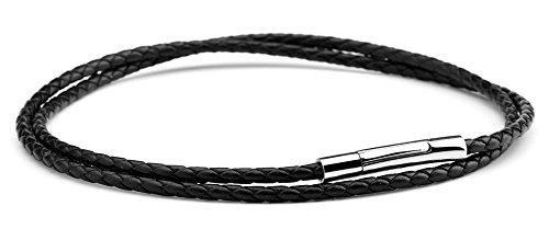 Hamoery Women Men 3mm Leather Cord Chain Necklace Black Braided Rope Stainless Steel Clasp Chain Necklace 14-30 Inch(Black,28.0 inches) by Hamoery (Image #4)