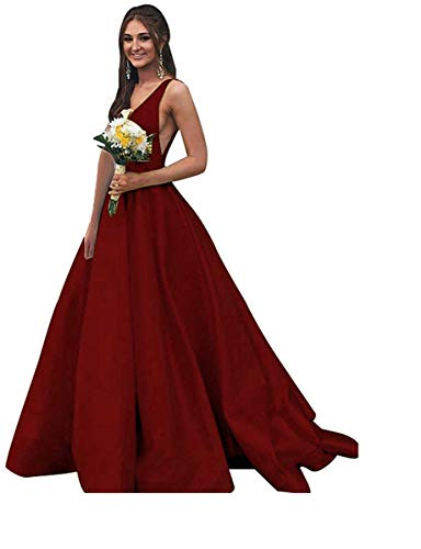 BBCbridal Women's V Neck Satin Prom Dresses Long Open Back Formal Evening Ball Gowns with Pockets Burgundy 10