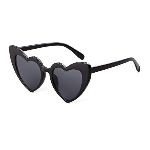 Clout Goggle Heart Sunglasses Vintage Cat Eye Mod Style Retro Kurt Cobain Glasses (Black Grey)