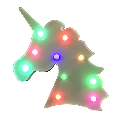 Eleven Direction LED Unicorn Magic Fantasy Themed Wall Desk Table Lamp Gift for Child Kids Baby Girls Bedroom Decor Birthday (Unicorn Head - Colorful)