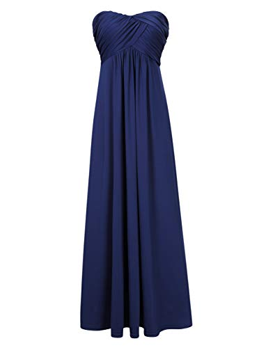 (GlorySunshine Women Strapless Sweetheart Bridesmaid Dresses Long Evening Gowns Navy L)