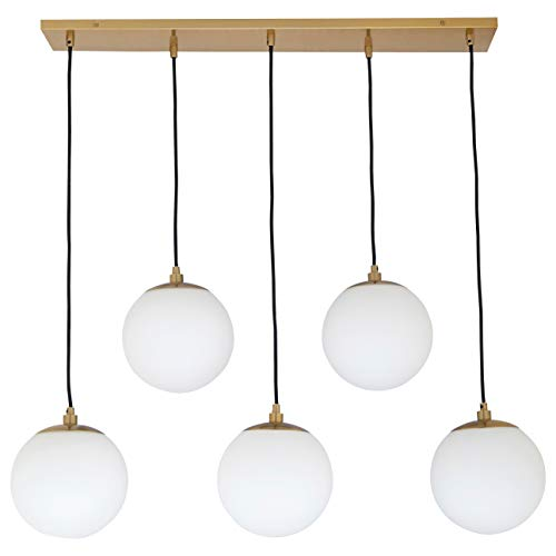 - Rivet Eclipse Mid Century Modern 5-Globe Brass Ceiling Pendant Chandelier Fixture - 30 x 12 x 36 Inches, Brass with Frosted Glass Globes