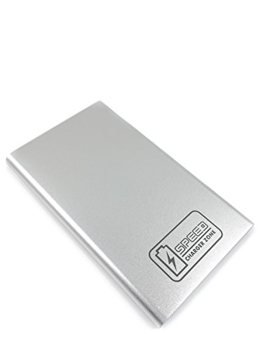 Compact Portable Charger by Speed Charger Zone | (Silver) | 2,600 mAh External Power Bank, Fast-Charging Technology, USB Port 2A Current Output, Intelligent Secure Clip Design, Premium Warranty.