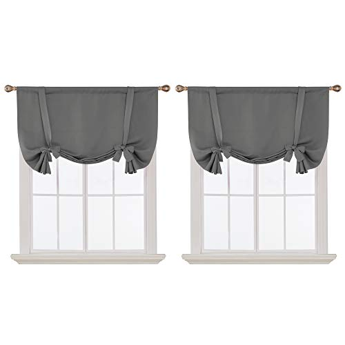 Deconovo Grey Blackout Curtains Rod Pocket Room Darkening Tie Up Valance for Living Room Grey 42W x 45L 2 Panels