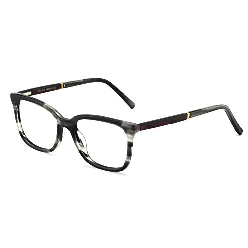 OCCI CHIARI Rectangular Stylish Acetate Frame Non-Prescription Fashion Clear Lens EyeGlasses For Women (Black Grey Tortoise)
