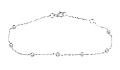 0.15 Ct. 10K White Gold Natural Real Round Cut Bezel Set Diamond Chain Bracelet For Women Adjustable by Rare Earth Diamond Jewellery (Image #1)