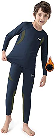MEETYOO Boy's Thermal Underwear Set, Ultra Soft Fleece Lined Compression Base Layer, Winter Long Johns for Kid